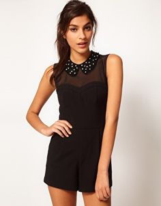 Enlarge ASOS Playsuit With Embellished Collar