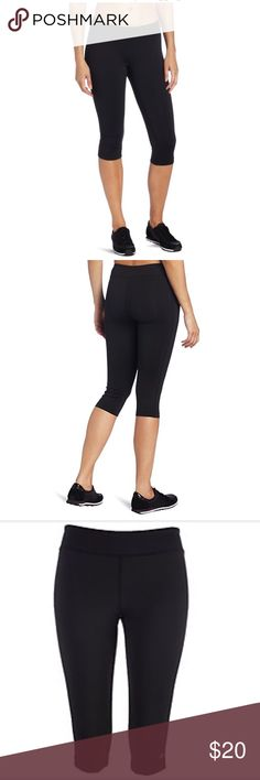 "CHAMPION FITTED ACTIVE PANT Perfect for all your athletic activities, these fitted knee pants feature a tight fit through the hips & thighs, Double Dry technology to keep you cool & dry, stretch that moves with you and a great fit for a flattering look and comfortable wear. 17"" inseam. Material polyester/spandex. Champion Pants Capris"