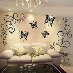 $6.27 - Butterfly Vine Diy Removable Vinyl Decal Art Mural Wall Stickers Home Decor #ebay #Home & Garden