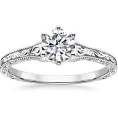 18K White Gold Hudson Ring ($990) ❤ liked on Polyvore featuring jewelry, rings, white gold jewelry, band rings, vintage style rings, white gold engraved rings and 18 karat gold jewelry