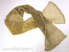 Mafke: simpele sjaal haken Crochet Clothes, Crochet Hats, Chrochet, Mittens, Knitting, Diy, Vintage, Scarfs, Cowls