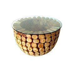 Teak Couchtisch Bowl Teakholz Wohnzimmertisch Massiv Handarbeit Tisch Holz