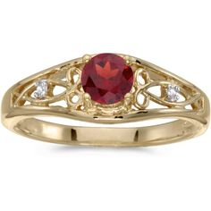 14k Yellow Gold Round Garnet And Diamond Ring (CM-RM2587X-01) (12,305 THB) ❤ liked on Polyvore featuring jewelry, rings, yellow gold rings, gold jewelry, diamond jewelry, wide-band diamond rings and 14k diamond ring