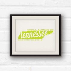 Tennessee State  Tennessee Art  Tennessee by PaperFinchDesign