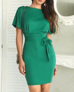 Style:Fashion Pattern Type:Solid Material:Polyester Neckline:Crew neck Sleeve Style:Short Sleeve Length:Midi Package Belt) Note: There might be difference according to man… Latest African Fashion Dresses, Women's Fashion Dresses, Dress Outfits, Dress Clothes, Elegant Dresses, Casual Dresses, Short Dresses, Dresses Dresses, Classy Dress