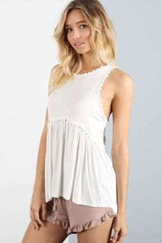 POL Clothing Babydoll Tank Top for Women in Ivory