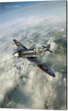 Supermarine Spitfire - War Canvas Print featuring the digital art Polly Grey by Peter Van Stigt ~ BFD Ww2 Aircraft, Fighter Aircraft, Military Aircraft, Fighter Jets, War Thunder, Airplane Art, Supermarine Spitfire, Ww2 Planes, Battle Of Britain