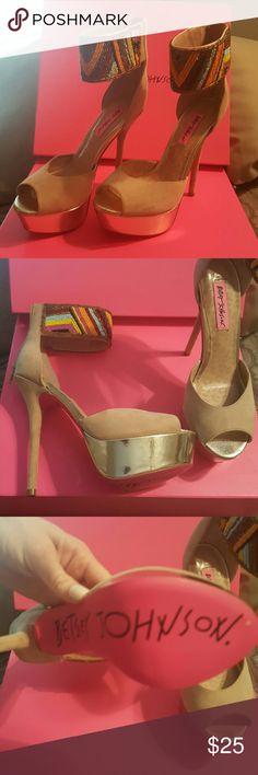 BETSEY JOHNSON HEELS Nude. Beaded Betsey Johnson heels Betsey Johnson Shoes Heels