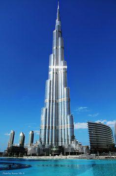 Burj Khalifa in Dubai 829m. Today is the tallest skyscraper in the world.