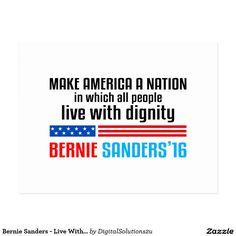 Bernie Sanders - Live With Dignity Postcard