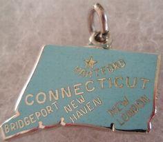 Connecticut + Hartford + Bridgeport + New Haven + New London [state map charm / pendant]