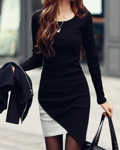 Stylish Scoop Neck Long Sleeves Color Splicing Irregular Hem Flocking Dress For Women
