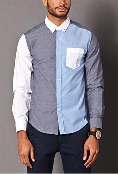 Colorblocked Chambray Shirt | 21 MEN - 2000070216