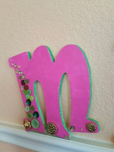 M- two tone monogram letter with buttons