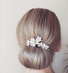 Beautiful bridal updo with a handmade porcelain headpiece Bridal Updo, Wedding Updo, Bridal Hair Accessories, Updos, Headpiece, Porcelain, Earrings, Handmade, Beautiful