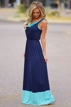 Summertime Color Block Maxi - Navy