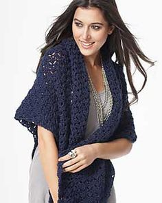 Crochet this soft, sparkling shawl -- perfect for yourself or as a gift for a loved one. Shown in Bernat Satin Sparkle. (Bernat.com)