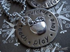Hand Stamped Teacher Gift Necklace with Silver Apple by Jeraly, $21.00