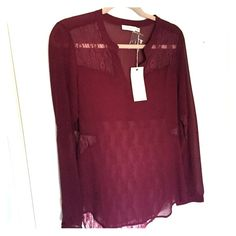 NWT- LUSH Burgundy Shirt with Lace, Nasty Gal NEW WITH TAGS, burgundy long sleeve LUSH shirt from Nasty Gal, with lace detail.......,,,, Suze large. Super cute and fun!!!!!! (Tag: cute, sexy, shirt, top, lace, love, pretty, sweet, stylish, date night, Nordstrom rack) Lush Tops