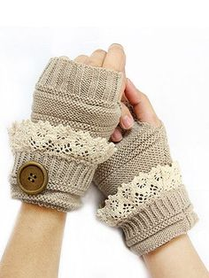 {Lace & Button Knit Fingerless Gloves}
