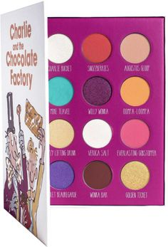 Childhood classic Charlie and the Chocolate Factory is inspiration for Storybook Cosmetics x Charlie And The Chocolate Factory Storybook Palette, a limited edition palette that comes in a hardcover storybook and features 12 Whipple-Scrumptious colors. Cheap Makeup, Cute Makeup, Makeup Case, Makeup Brush Set, Makeup Sets, Body Makeup, Ruby Rose, Makeup Palette, Eyeshadow Palette
