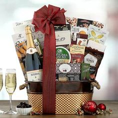 Wine Gift Baskets - Champagne Gift Basket Champagne Gift Baskets, Wine Gift Baskets, Wine Gifts, Special Occasion, Container, Treats, Chocolate, How To Make, Gourmet