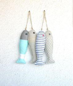 4 Fabric stuffed fish ornaments, summer house décor, nautical, cute,. $41.00, via Etsy. (scheduled via http://www.tailwindapp.com?utm_source=pinterest&utm_medium=twpin&utm_content=post1706459&utm_campaign=scheduler_attribution)
