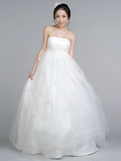 Dathybridal #ウェディングドレス ボールガウン ベアトップ フロアー丈 ノースリーブ ファスナー アップリケ #チュール ホワイト 結婚式 二次会 ドレス ウェディングドレス Hlbw0043