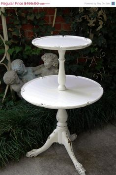 White Painted Antique Serving TABLE 2 Tier Pie by RedBarnEstates, $156.00