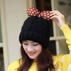 Polka dot bow knit hat for winter womens beanie hats sweet style