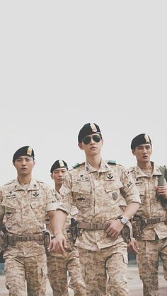 Wallpaper HD. Descendants of The Sun 태양의 후예 Starring: Song Joong Ki 송중기 as Yoo Si Jin Song Hye Kyo 송혜교 as Kang Mo Yeon Jin Goo 진구 as Seo Dae Young Kim Ji Won 김지원 as Yoon Myung Joo Onew 온유 (이진기) as Lee Chi Hoon