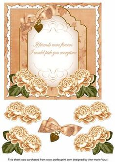 Peach Rose If Friends were Fancy 7in Decoupage Topper on Craftsuprint - Add To Basket!