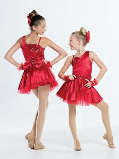 NEW! 2017 Collection Jazz & Tap Costumes: Stretch satin spandex bodice with attached, adjustable shoulder strap is fully-lined and has an asymmetrical top featuring stretch sequin overlay and matching waistband. Attached skirt has a layer of organdy under stretch satin peplum with a bow at the back.  Includes hair bow, bobby pins, gloves, hanger and garment bag.