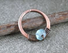 Unique Nose Ring Antiqued Copper Wire Wrap Gemstone by RuthAndJack