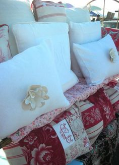 French linen sheets, metis, ticking, vintage french floral fabrics