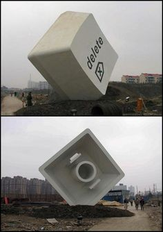 "[  http://pinterest.com/toddrsmith/boards/  ]  - ""enlarged DELETE key"" (Zhangjiang Road)  by Leung Mee-ping - - [  #S0FT  ]"