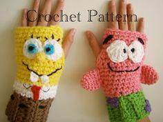 Sponge Bob & Patrick Fingerless Gloves Crochet PATTERN PDF via Etsy