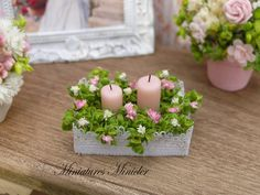 Miniature Dollhouse Floral Decoration With Candles by Minicler