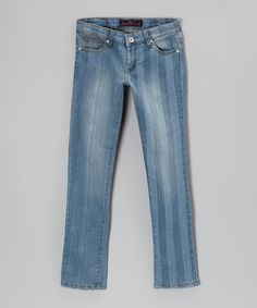Take a look at this Medium Wash Stripe Jeans by Lavo Collections on #zulily today!