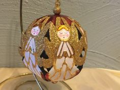 Collectible-Ornament-XMAS-Filigree-Angel-Ball-3D-Gold-Finished-Brass