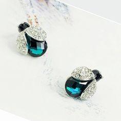 Personalized Swarovski Element Green Crystal Beetle Stud Women Cheap Earrings DC26E3328 $6.50