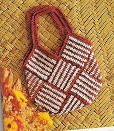 Crochet Striped Square Tote - Free Crochet Pattern - (grandmotherspatternbook)