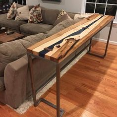 J Krantz Basement Hallway or Sofa Table Black Walnut & Blue Resin Bar Table Behind Couch, Couch Table, Sofa Tables, Dining Table, Table Haute, Live Edge Table, Sofa Furniture, Furniture Stores, Home Decor Inspiration