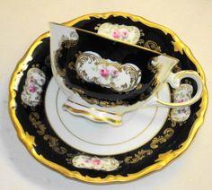 GDR Echt Cobalt Bavaria Germany Rose Sash Elegant Tea cup and saucer Teacup