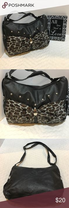 🍒2 for $12 Gray Cheetah Print w/ Bow/Bling Purse NWOT Sexy Dark Gray and Cheetah Pattern with Bow and Bling Purse and there is an accessory pocket that zippers up. Approx 14 inches x 8.5 inches. Shoulder strap is adjustable from about 11-22 inches from top to top of purse. Ask questions!   L33 Bags Shoulder Bags
