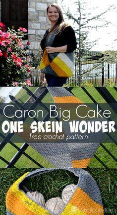 Crochet Purses Ideas Caron Big Cake One Skein Wonder crochet bag/purse pattern - Wondering what you can make with just one of the new Caron Big Cakes? This One Skein Wonder free crochet pattern makes a HUGE carry-all bag! One Skein Crochet, Crochet Shell Stitch, Bead Crochet, Free Crochet, Crochet Afghans, Crochet Blankets, Crochet Stitches, Easy Crochet Projects, Crochet Crafts