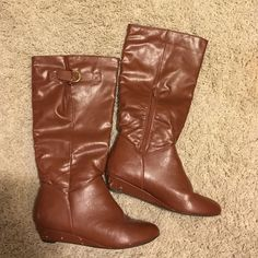 Brown knee high heeled riding boots! size 8 brown, knee high, heeled riding boots with zipper!! size 8! super cute however have some stub marks and signs of wear at the heel...other than that good condition and can be paired to many things! Shoes Over the Knee Boots