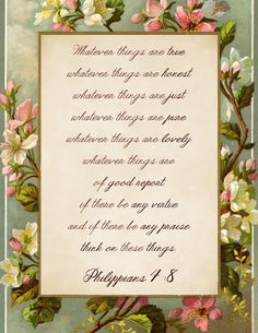 Think on These Things ~ free printable featuring Philippians 4:8.