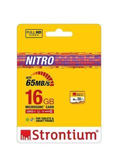 Strontium Nitro 16GB Class 10 UHS-1 MicroSDHC Card (SRN16GTFU1R)-$7.409