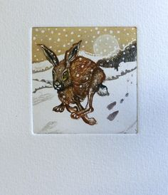 Dashing through the snow, Running Hare , etching and aquatint